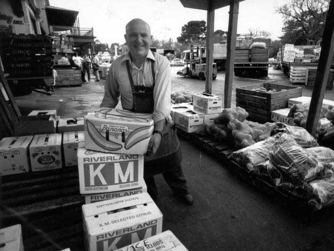 East End Market fruit seller Doug Moulds, at his market stall, September 1988