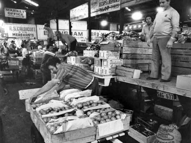 Just before 7am at the East End Market in 1981. Coismo Sacca of Virginia packs tomatoes.