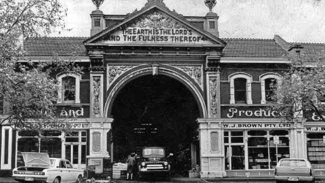 The facade of East End market on Grenfell St, Adelaide