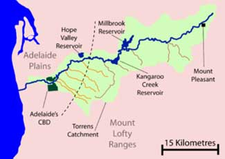 Map of the River Torrens Catchment area