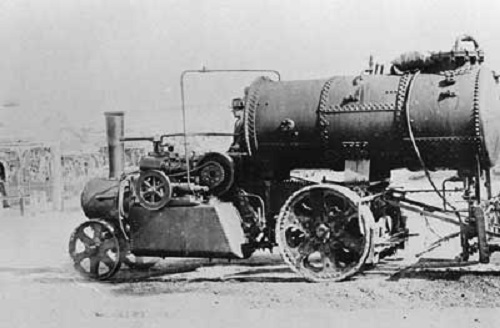 'Mann' steam wagon and tar sprayer used during the construction of the Torrens Gorge Road