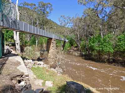 River Torrens, flowing under the Gorge Weir Aqueduct, Gorge Rd., Athelstone, SA.