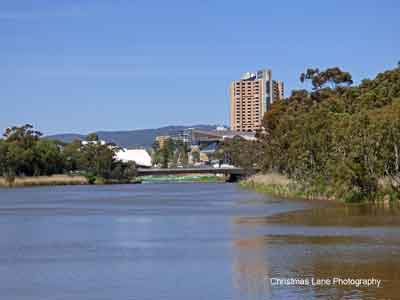 Torrens Lake,with Adelaide CBD in the background.